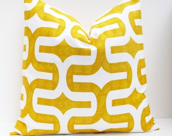 Throw Pillow Covers ONE 22x22 Yellow Pillow Decorative Throw Pillow Cover Ikat Pillow Housewares Printed fabric on front and back