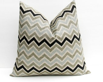 Chevron Pillow Covers Blue Gray Pillow  Pillow 18x18 Throw Pillow Covers Burlap Pillow Cover Chevron Printed Fabric both sides
