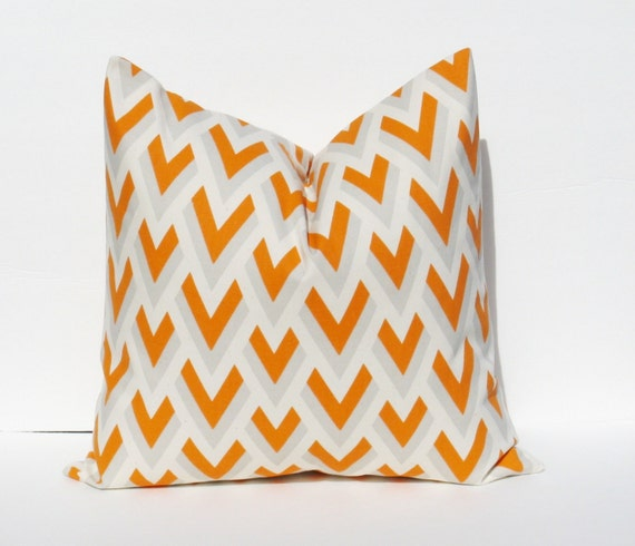 Decorative Pillow Covers 26x26 : Items similar to Pillows - Decorative Pillows - Floor Cushions Orange Gray Pillow - Toss Pillow ...