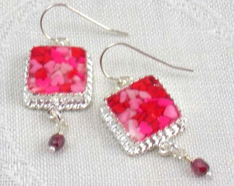 Earrings: tiny square red and pink heart sprinkles in resin