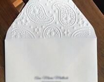 Debossed Envelopes (Set of 25). Envelopes. Custom Envelopes. Printed Envelopes. Paisley Envelopes.