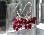 Valentine's Day Red Cluster Earrings Red Swarovski Crystals Sterling