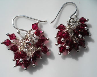 Red Ruby Crystal Cluster Earrings Pomegranate Red Swarovski Crystals
