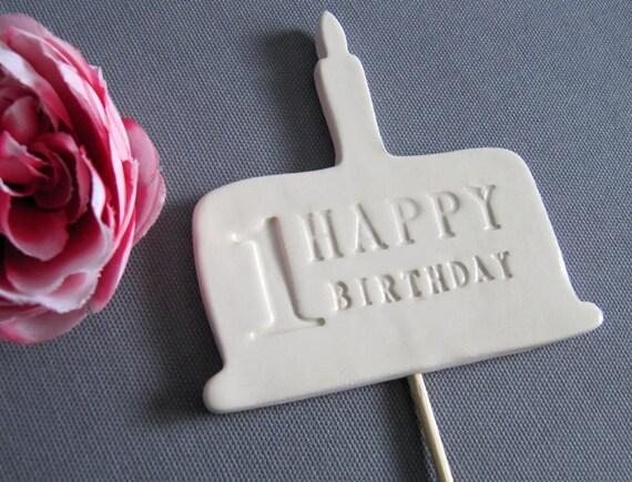 1st Birthday Cake Topper - White