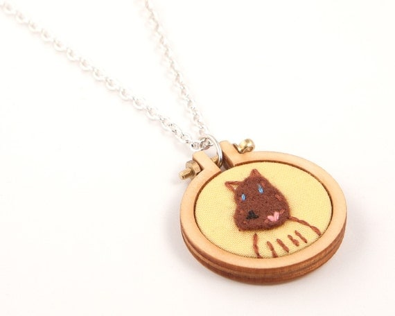 Custom pet portrait necklace for 1 - made to order by dandelyne - embroidered and appliqued