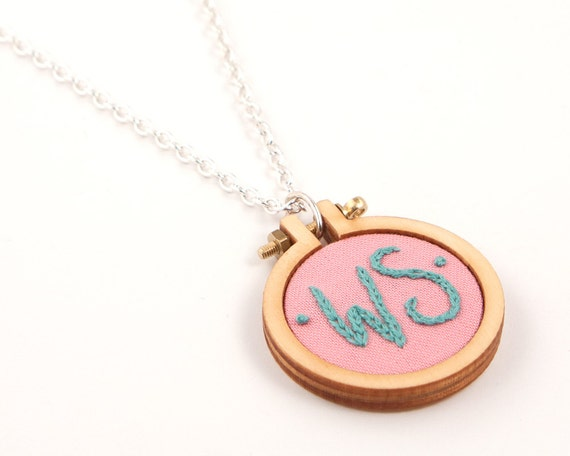 Embroidered initial necklace - pink, spearmint, blue, orange, lavender, purple - personalised in a miniature embroidery hoop