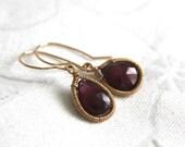 Garnet Tear Drop Earrings - Hand Wire Wrapped 14K Gold Fill Garnet Dangle Earrings