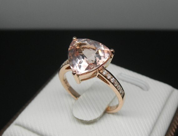 Engagement Ring 3 Carat Morganite Ring With by stevejewelry