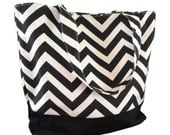 Black and White Chevron Canvas Tote Bag Purse - pickinickibows