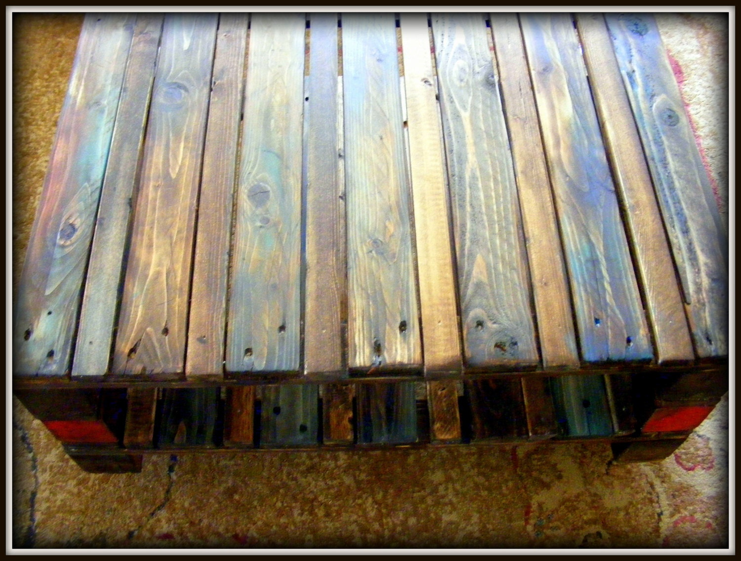 Multi Color Reclaimed Pallet Wood Table On By Happyhomeaustin