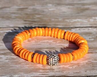 Orange Heshi Beaded Bracelet with Pave Focal  / Handmade Beaded Bracelets