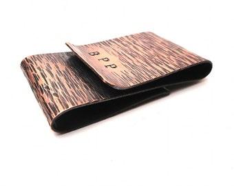 Personalized Wood Bark Copper Money Clip