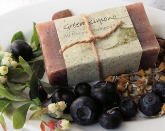 Blueberry & Chamomile Natural Shampoo Bar- mild exfoliating shampoo and soap