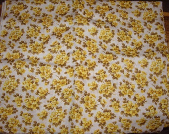 Golden floral linen yardage from the 70's.
