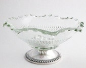 Vintage Fluted Glass Bowl with Sterling Silver Base Duchin Creation