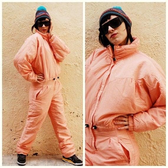 80s/ 90s Vintage Ski suit / Ski Romper  / Jumpsuit / Overall / Batwing sleeve - Salmon Pink- Pure Nylon