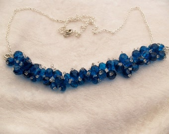 Modern, trendy,Blue Bar Pendent Necklace