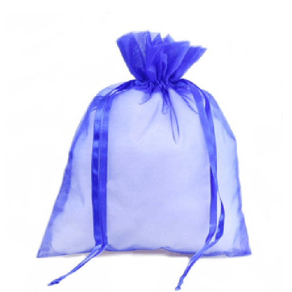 Bag, Organza, Royal Blue Sheer, Satin Drawstring 3 x 4 Package of 10