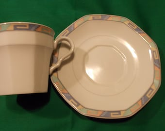 One (1), Porcelain Footed Tea Cup & Saucer, from Christopher Stuart, in the Southwest Y0002 Pattern.