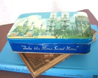 Vintage Blue Bird Toffee Blue tin with London scene Take The Home Sweet Home made in England