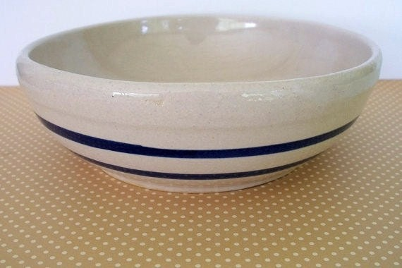 Vintage R.R.P. Co. Blue Band pottery ceramic salad Bowl made in the Usa Farmhouse kitchen bowl