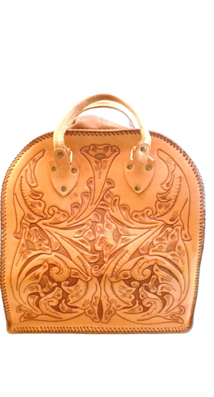 Vintage Tooled Leather Bowling Bag Floral Design Purse
