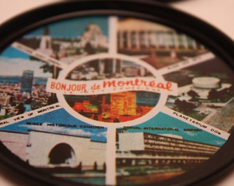 Vintage Set Of 6 Montreal Canada Tin Coasters-Coasters feature-Oratoire Saint-Joseph, Place Des Arts, Planetarium, Musee Historique Canadien
