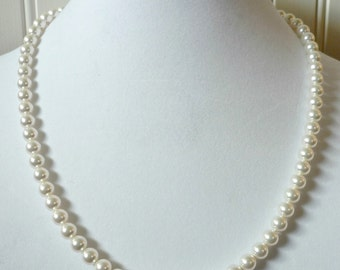 Pearl necklace, 24 inch pearl necklace, white pearls, wedding pearls, graduation gifts, bridesmaid jewelry, bridal pearls, bridesmaid pearls