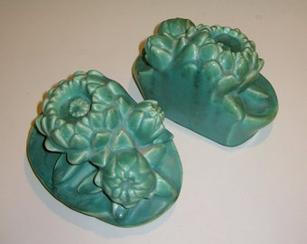 Vintage Rookwood Water Lily Art Pottery Bookends in a Teal Matte Glaze