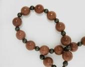 Goldstone Bracelet glass beadwork handmade brown glass pearls gold dust sparkle