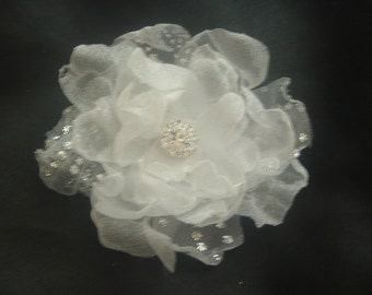 White and Silver Organza Bridal Flower with Crystal Center Hair Clip Barrette