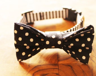 Black and White Striped Dog Collar with Removable Black and White Polka Dot Bow Tie