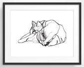 Cat Art Print, Animal Art, Animal Nursery Print, Bedroom Wall Decor, Cat Lover Gift, Cute Animal, Cute Cat