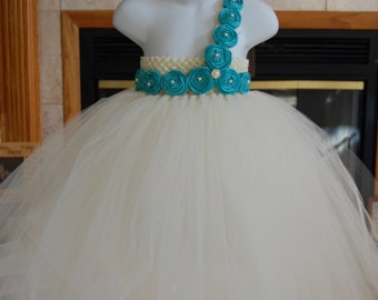 Couture Ivory  Vintage Tulle Dress-with Deep Aqua Blue handrolled rosettes and button embellishments.