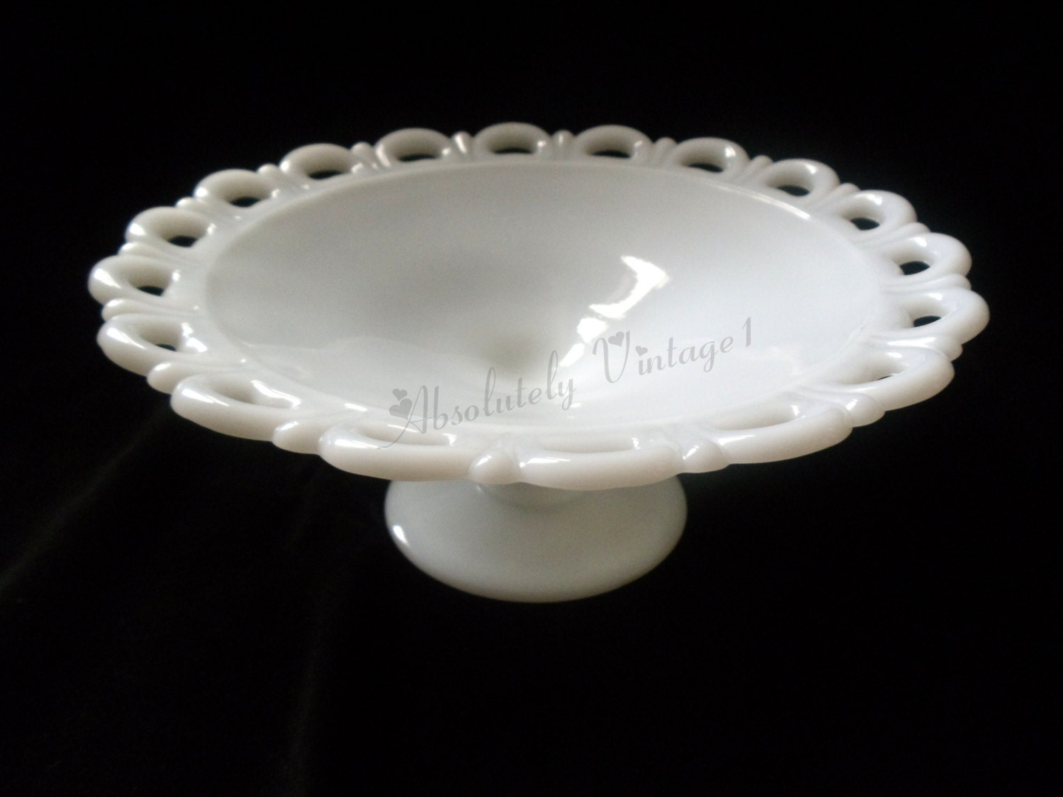 Milk Glass Lace Edge Cake Stand Vintage By