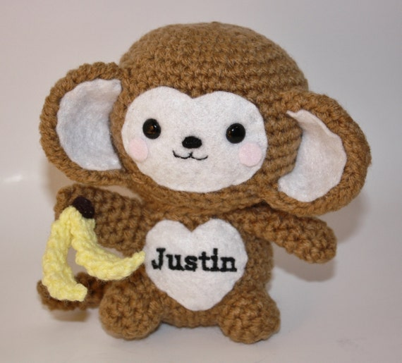 Amigurumi Monkey Etsy : Amigurumi Monkey Handmade Crochet Baby Animal by ...
