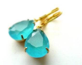 Aqua Earrings Aqua Blue Teardrop Drop March birthstone Vintage Estate Style Earrings