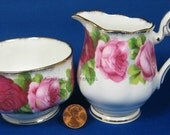 Royal Albert Old English Rose Cream And Sugar Creamer Sugar Basin 1950s 1960s English Bone China
