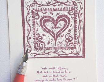 Origninal Art print shakespeare heart design -  hand printed