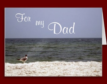 Ocean Beach View Father's Day Card Inside Poem Quote 5x7