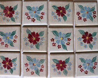 "12 vintage Mosaic Tiles Hand Painted ""Cinca"""