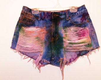 Tie Dye Marbled Distressed Shorts