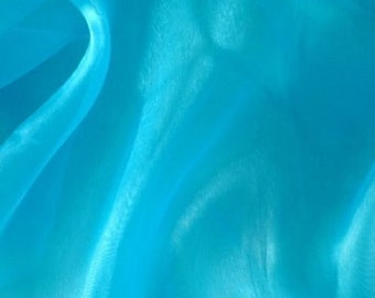 """Turquoise Mirror Organza 100% Polyester 58/ 60"""" Wide Fabric By the Yard  - 1 yard"""