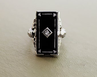 Antique 18k White Gold Black Onyx and Diamond Ring
