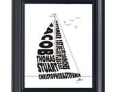 Open Water Sail Boat - Custom Personalized Print UNFRAMED
