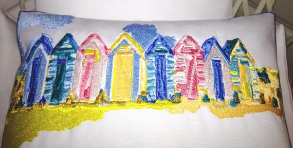 Beach Huts, Artistic Textile Embroidery - Throw Cushion