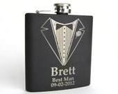 Personalized Groomsmen Gift, 1 Engraved Flask, Stainless Steel Flask, Personalized Best Man Gift, 1 Black Flask