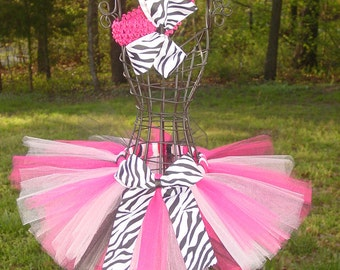 Zebra TU TU TuTu Skirt and Headband Two Piece Set Newborn 3 Months Hot Pink , White, Black Baby Infant Toddler Custom