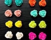 Rosebud Resin Flower Cabochon Earrings