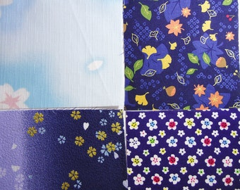 Four japanese fabric Scrap Pack.Pieces.n23
